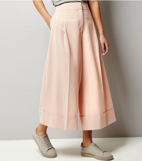 Shell Pink Wide Leg Cropped Turn Up Hem Trousers | New Look