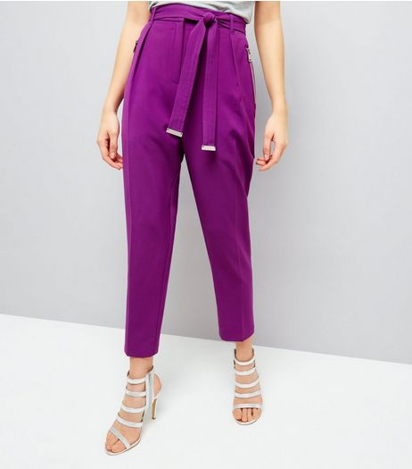 Purple Tie Waist Trousers  | New Look