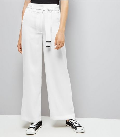 White Tie High Waisted Wide Leg Trousers | New Look