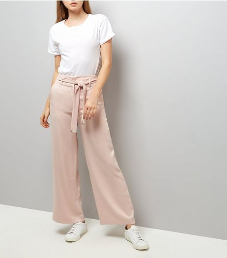 Shell Pink Tie High Waist Wide Leg Trousers | New Look