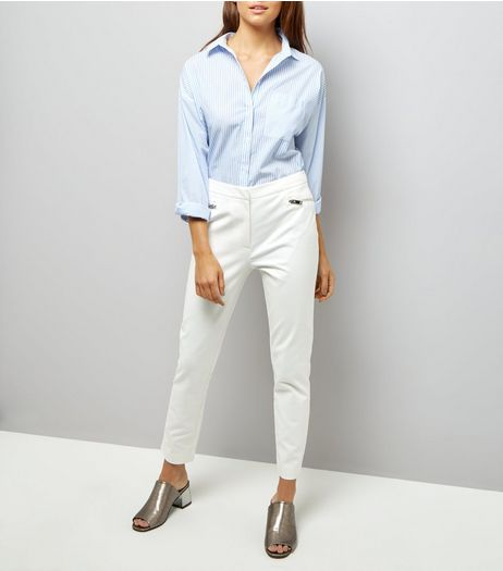 White Zip Trim Trousers | New Look