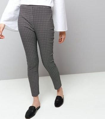 Black Abstract Print Bengaline Trousers