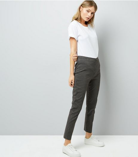 Khaki Abstract Print Bengaline Trousers | New Look