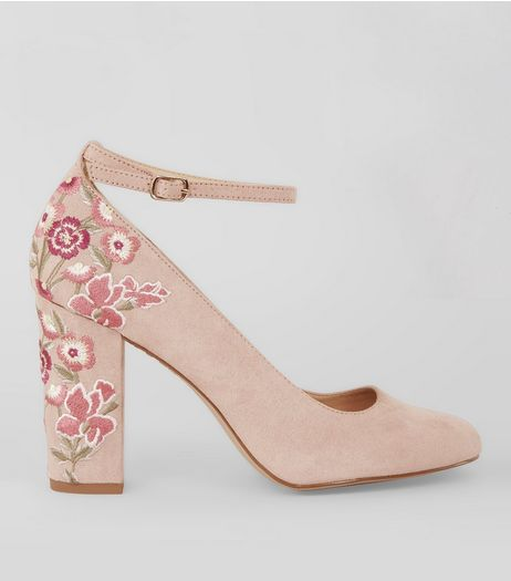 Nude Pink Suedette Embroidered Heels | New Look