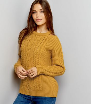 Yellow Cable Knit Cut Out Neck Jumper