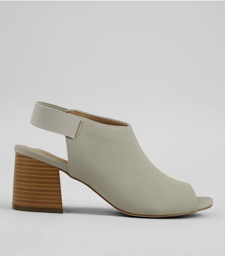 Grey Elasticated Sling Back Block Heels | New Look