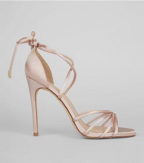 Pink Sateen Knot Front Ankle Tie Heels | New Look