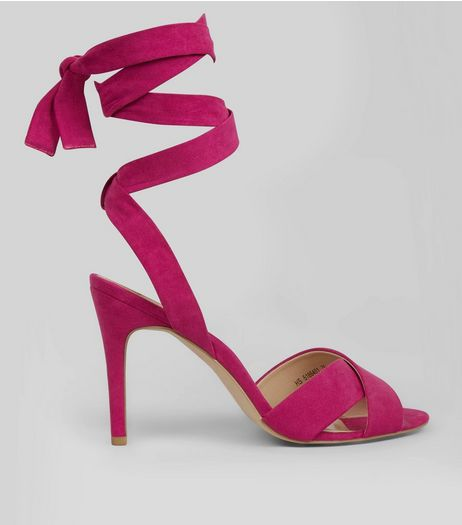 Bright Pink Suedette Tie Up Heeled Sandals | New Look