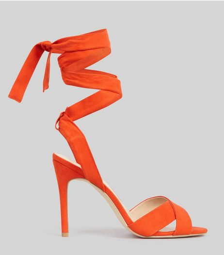 Orange Suedette Tie Up Heeled Sandals | New Look