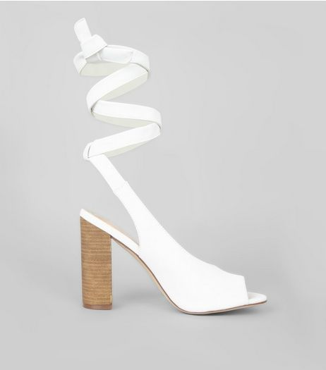 White Peep Toe Tie Up Block Heels | New Look