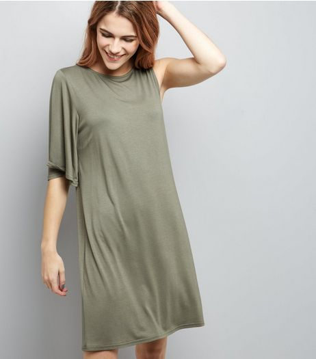 Khaki Single Sleeve Jersey T-Shirt Dress  | New Look