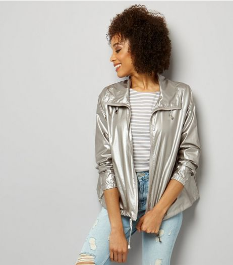 Silver Metallic Fold Away Anorak  | New Look
