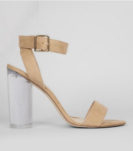 Cream Wrap Strap Perspex Block Heels | New Look