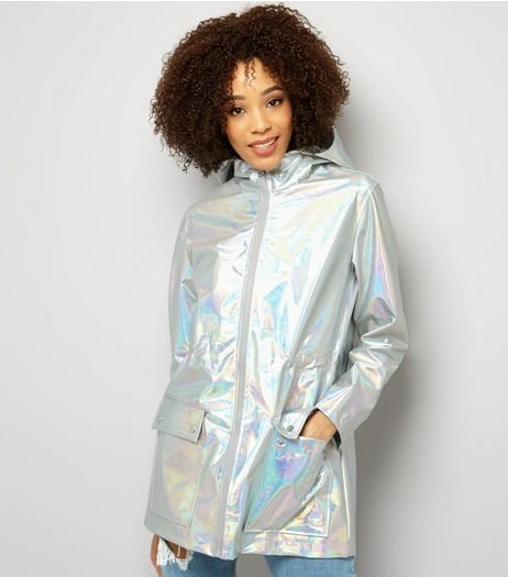 Silver Metallic Hooded Anorak  | New Look