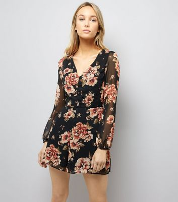 Black Floral Print Chiffon Long Sleeve Playsuit