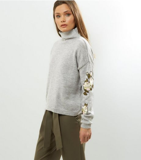 Pale Grey Floral Badge Sleeve Funnel Neck Jumper  | New Look
