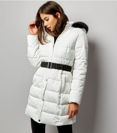 White Faux Fur Trim Belted Longline Puffer Jacket | New Look