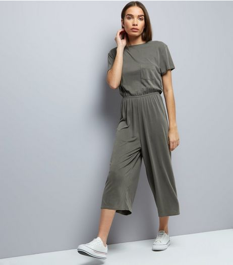 Khaki Pocket Front Jersey Jumpsuit | New Look
