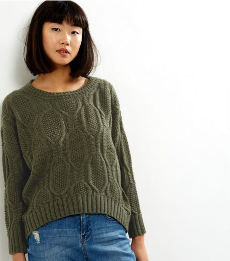 QED Khaki Cable Knit Jumper | New Look