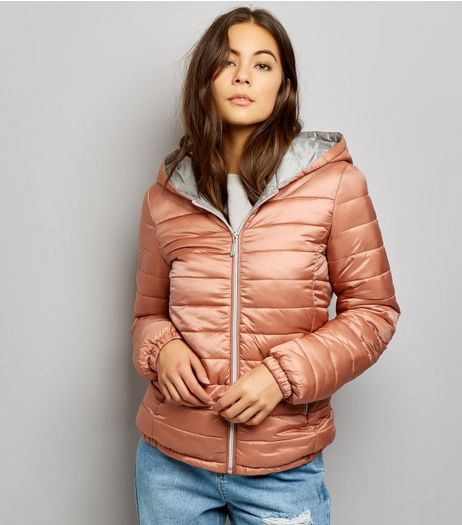 Shell Pink Fitted Lightweight Puffer Jacket | New Look