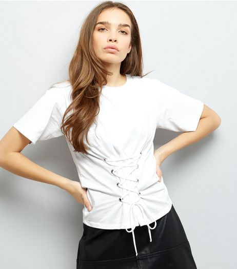 White Lace Up Corset T-Shirt  | New Look