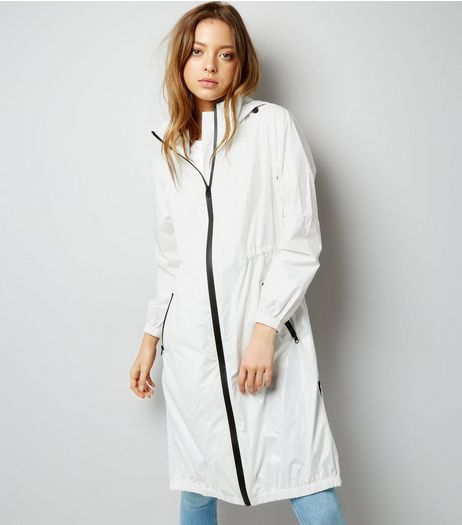 White Sports Longline Parka  | New Look