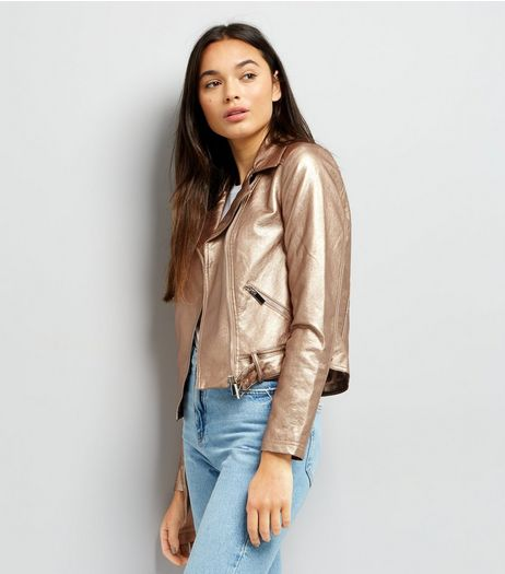 Rose Gold Metallic Biker Jacket  | New Look