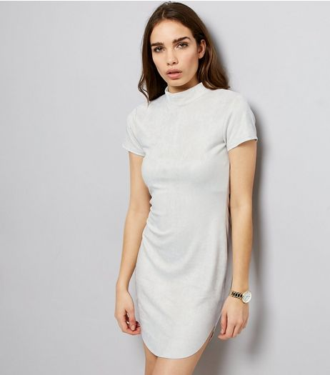 AX Paris Grey Suedette Funnel Neck Dress | New Look