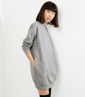Influence Pale Grey Oversized Jumper Dress