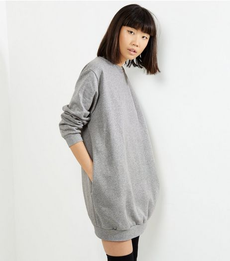 Influence Pale Grey Oversized Jumper Dress | New Look