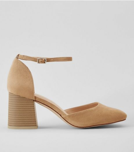 Nude Suedette Ankle Strap Heels | New Look