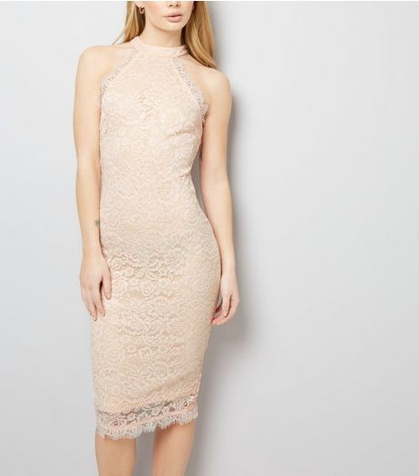 AX Paris Shell Pink Lace High Neck Dress  | New Look