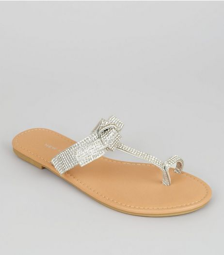 Silver Crystal Bow Top Toe Post Sandals | New Look