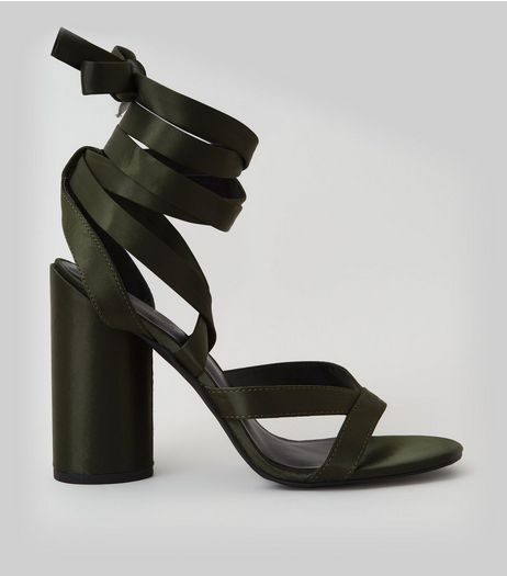 Khaki Satin Tie Up Block Heels | New Look
