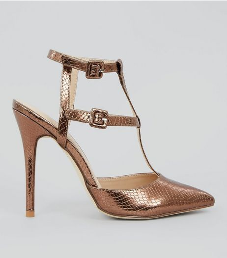 Rose Gold Snakeskin Texture Pointed Gladiator Heels | New Look