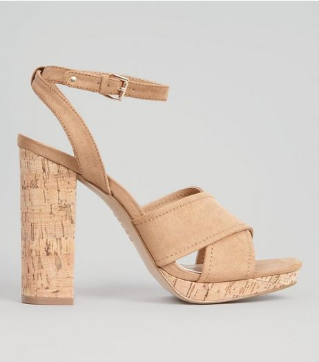 Tan Suedette Cross Strap Cork Block Heels | New Look