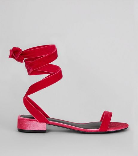 Bright Pink Velvet Ankle Tie Sandals | New Look