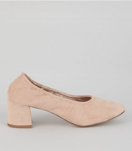 Pink Suedette Elasticated Block Heels | New Look