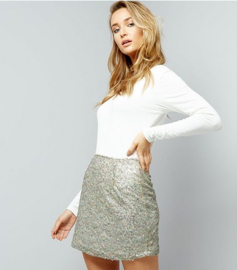 Motel White Sequin Mini Skirt | New Look