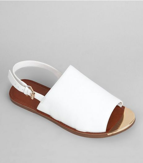 Wide Fit White Metal Trim Mules | New Look