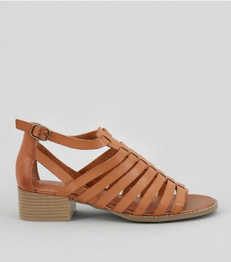 Tan Gladiator Block Heel Sandals | New Look