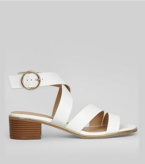White Metal Trim Cross Strap Sandals | New Look