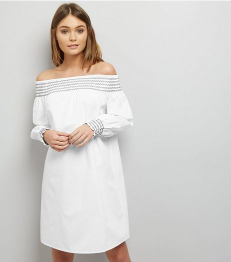 White Shirred Bardot Neck Long Sleeve Dress  | New Look
