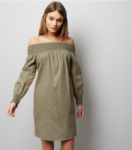 Khaki Shirred Bardot Neck Long Sleeve Dress  | New Look