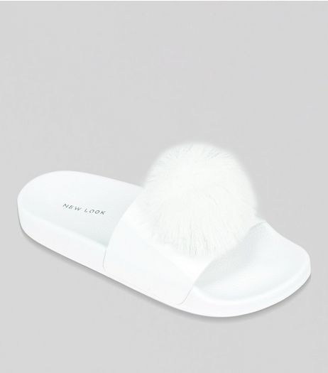 White Faux Fur Pom Pom Sliders | New Look