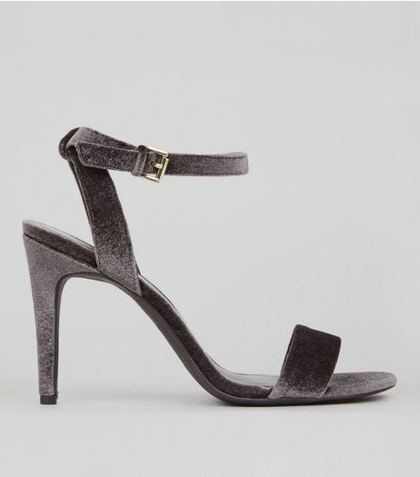 Grey Velvet Ankle Strap Heels | New Look