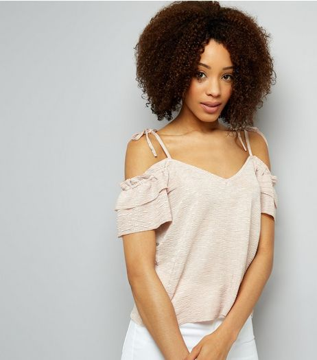 Pink Frill Trim Cold Shoulder Top | New Look