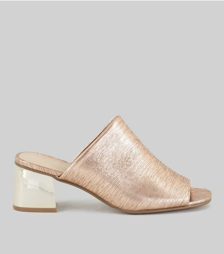 Rose Gold Textured Heeled Mules | New Look