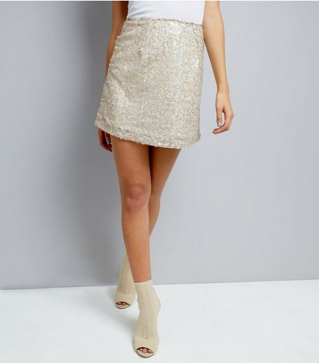 Motel White Sequin Tie Back Skirt  | New Look