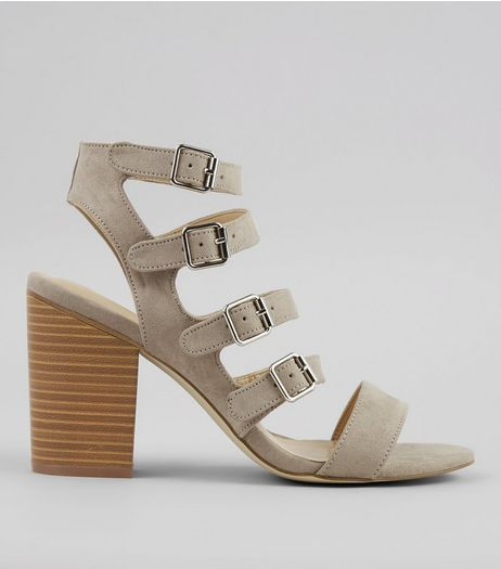 Grey Suedette Multi Strap Heeled Sandals | New Look